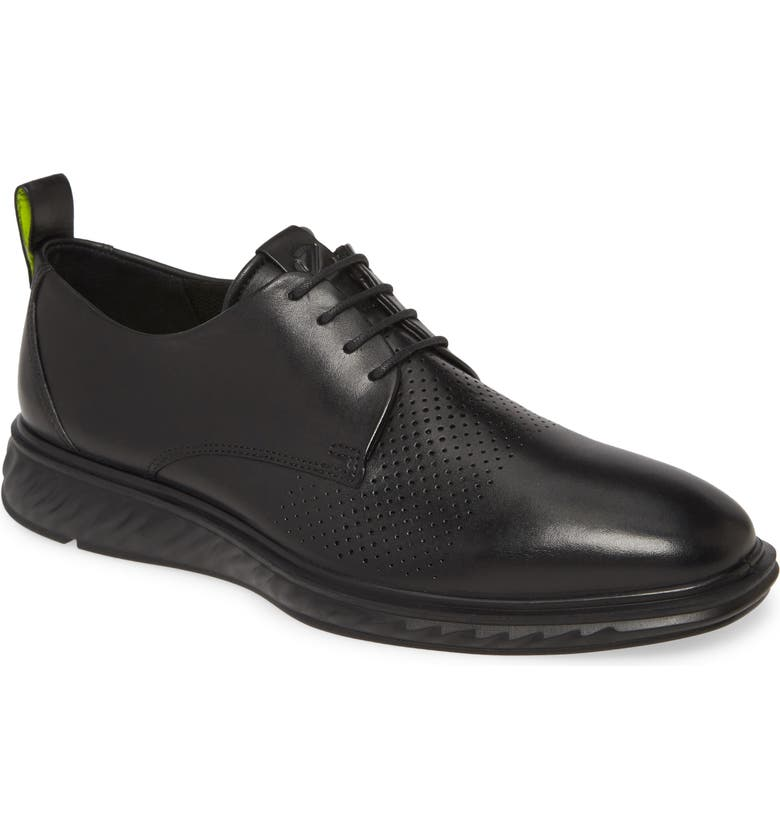 ECCO ST Hybrid Lite Modern Plain Toe Derby, Main, color, BLACK