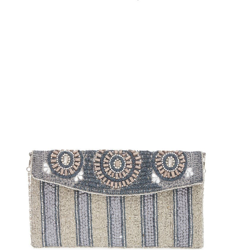BIG BUDDHA Beaded Stripe Flap Clutch, Main, color, 044