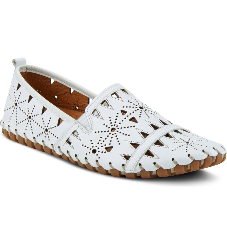 SPRING STEP Fusaro Flat, Main, color, WHITE LEATHER
