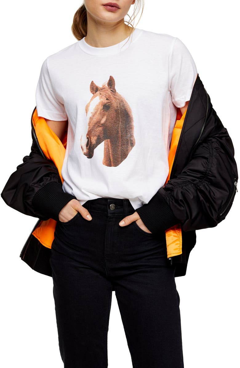 TOPSHOP Horse Graphic Tee, Main, color, WHITE MULTI