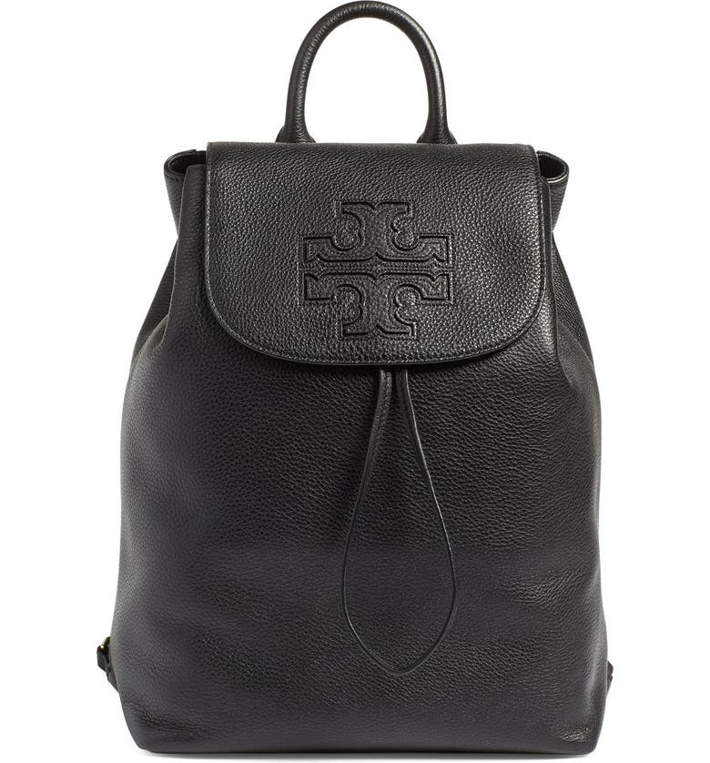 TORY BURCH 'Harper' Leather Backpack, Main, color, 012
