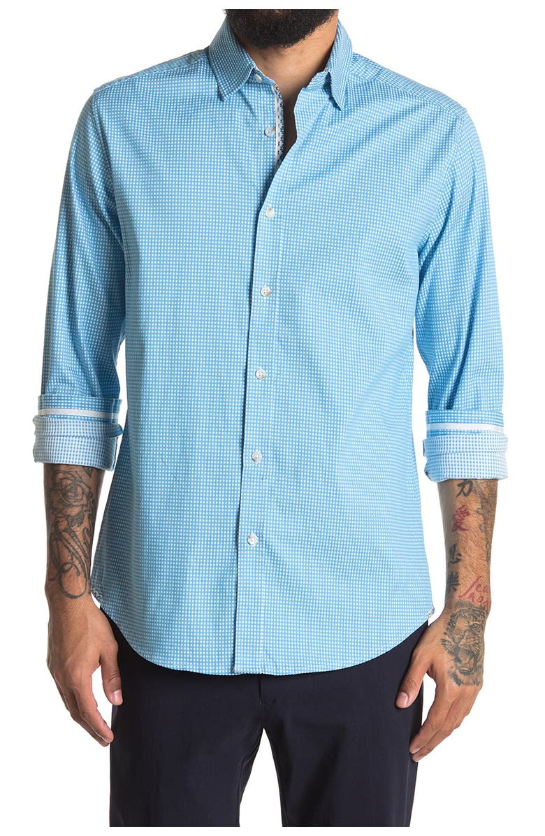 ROBERT GRAHAM Check Augusto Tailored Fit Shirt, Main, color, BLUE
