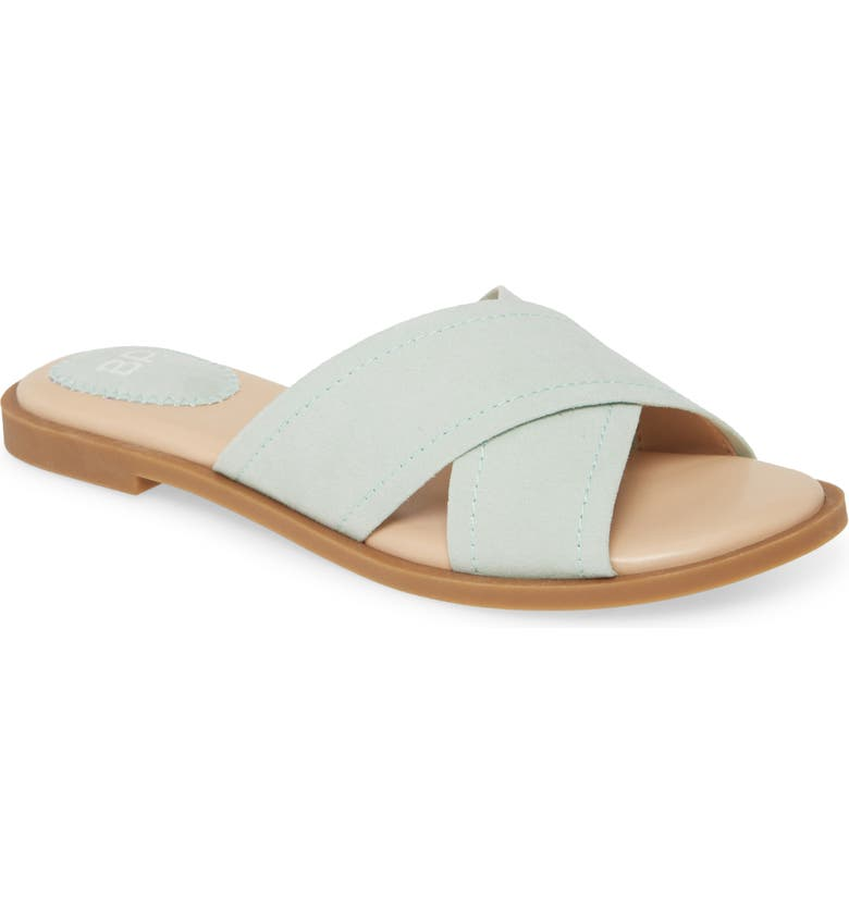 BP. Winnie Slide Sandal, Main, color, MINT FAUX SUEDE