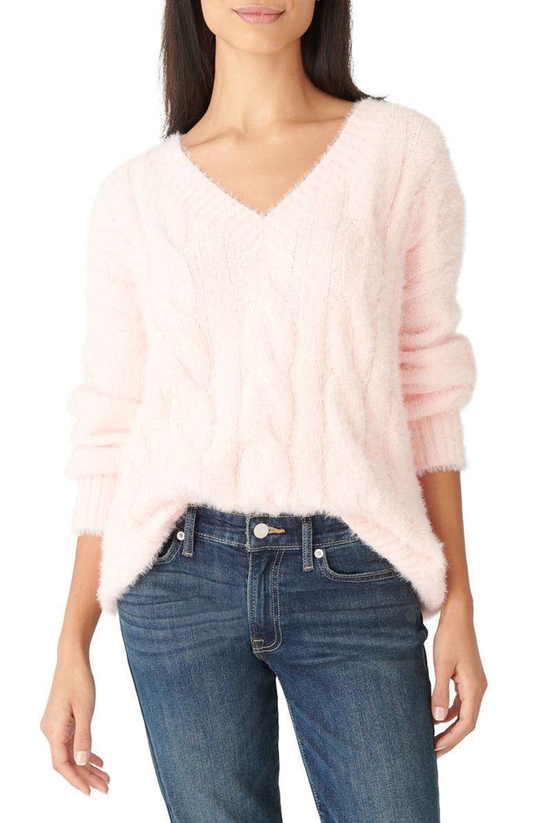 LUCKY BRAND Eyelash Cable Sweater, Main, color, VEILED ROSE