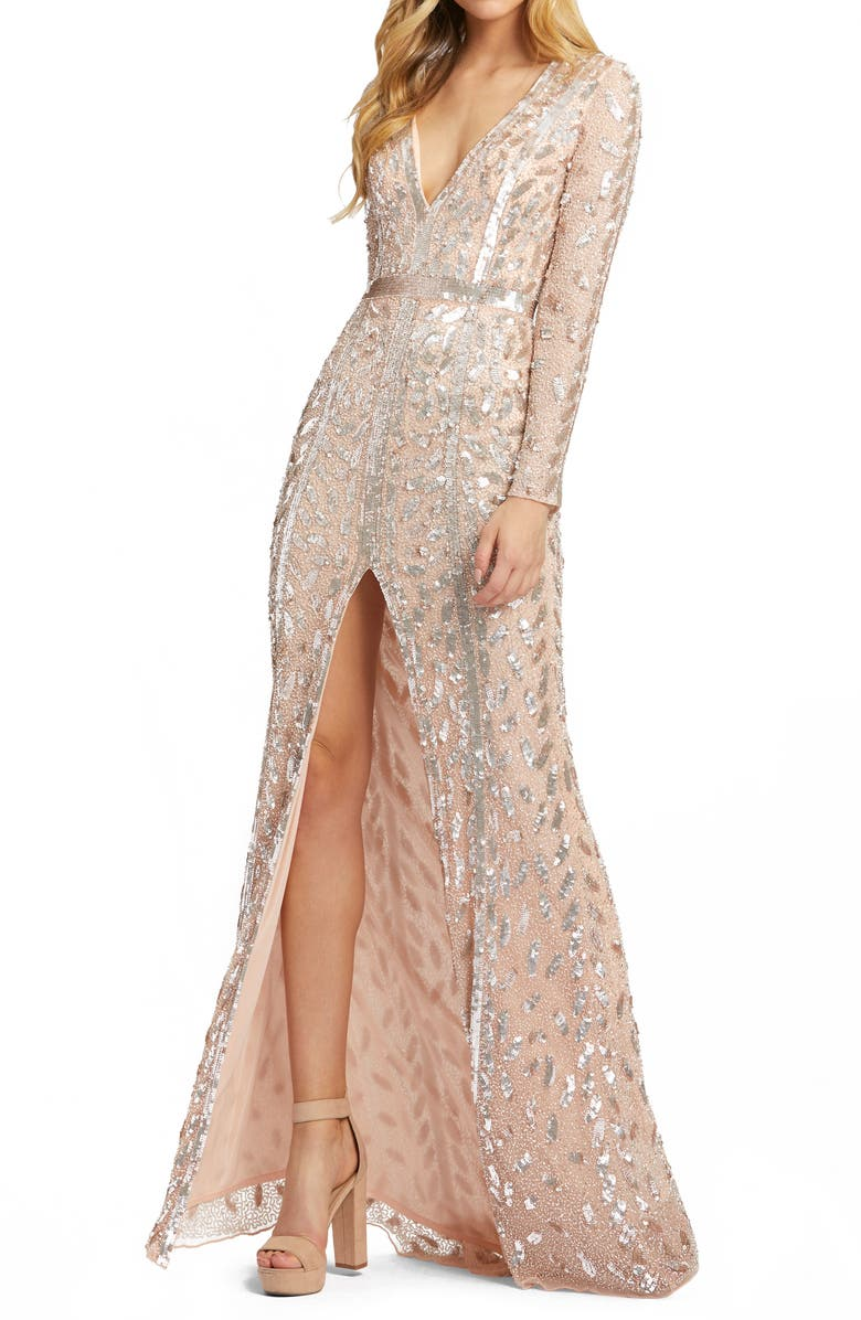 MAC DUGGAL Embellished Long Sleeve Evening Gown, Main, color, ROSE GOLD