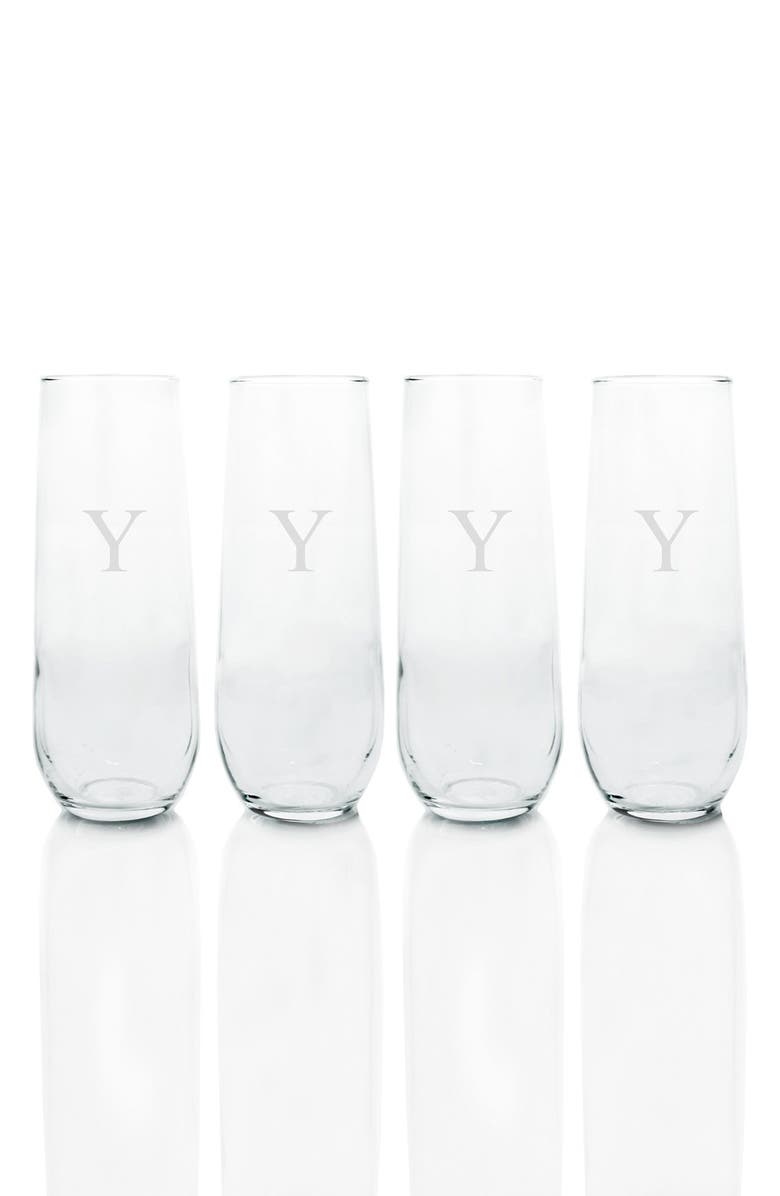 CATHY'S CONCEPTS Monogram Stemless Champagne Flutes, Main, color, 984