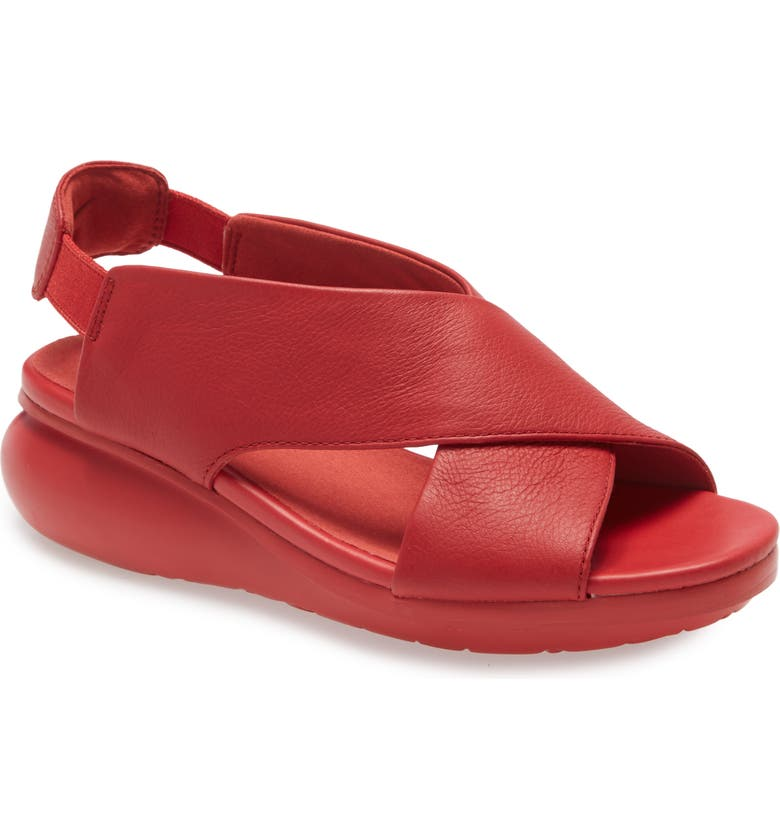 CAMPER Balloon Slingback Wedge Sandal, Main, color, NEW RED LEATHER