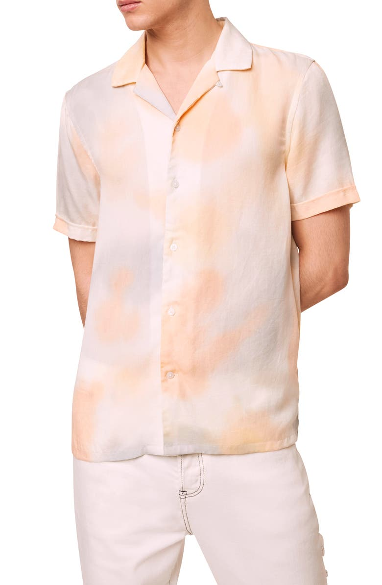 FRENCH CONNECTION Slim Fit Tie Dye Short Sleeve Button-Up Camp Shirt, Main, color, DUSTY BLUE TIE DYE