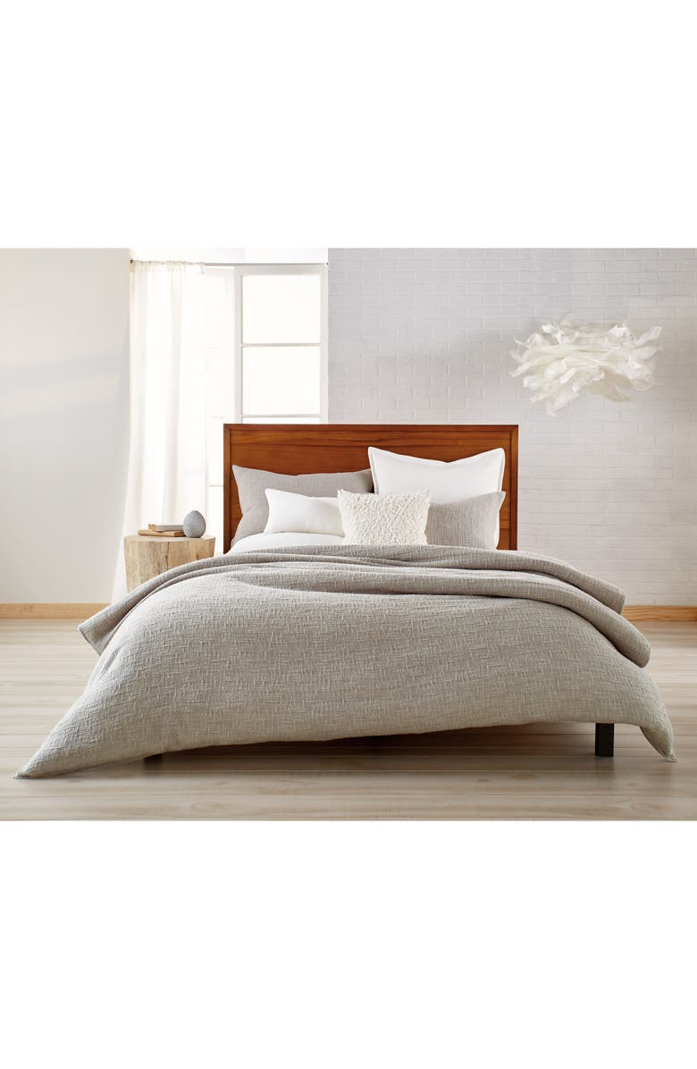 DKNY Pure Texture Duvet Cover, Main, color, Grey