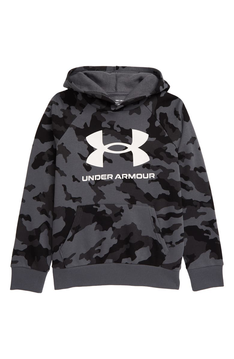 UNDER ARMOUR Rival Fleece Print Hoodie, Main, color, 001