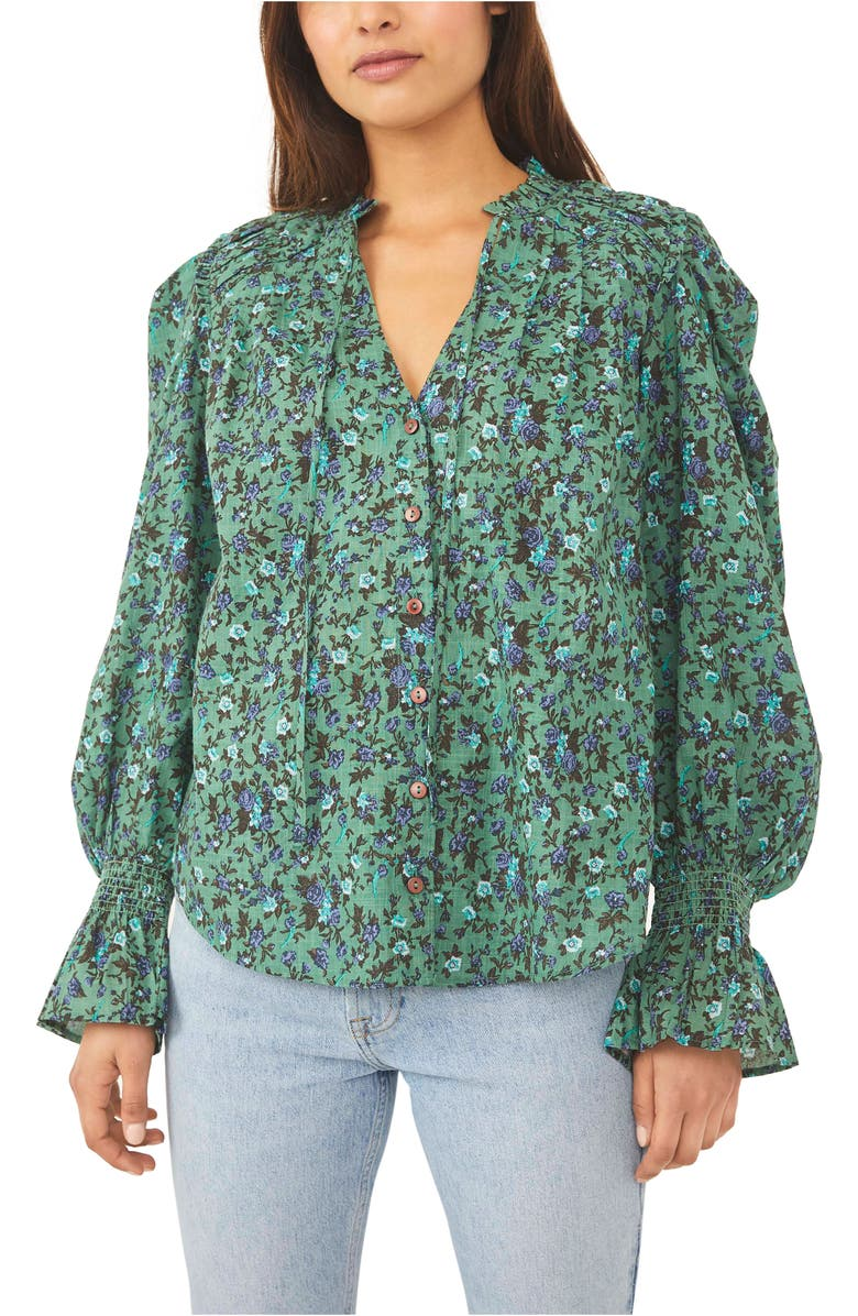FREE PEOPLE Meant To Be Floral Cotton Blouse, Main, color, AQUA COMBO
