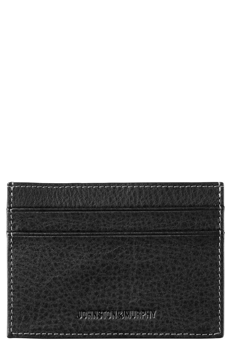 JOHNSTON & MURPHY Leather Card Case, Main, color, Black