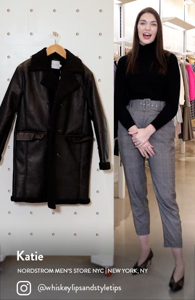 Double Breasted Faux Leather & Faux Shearling Coat, sales video thumbnail