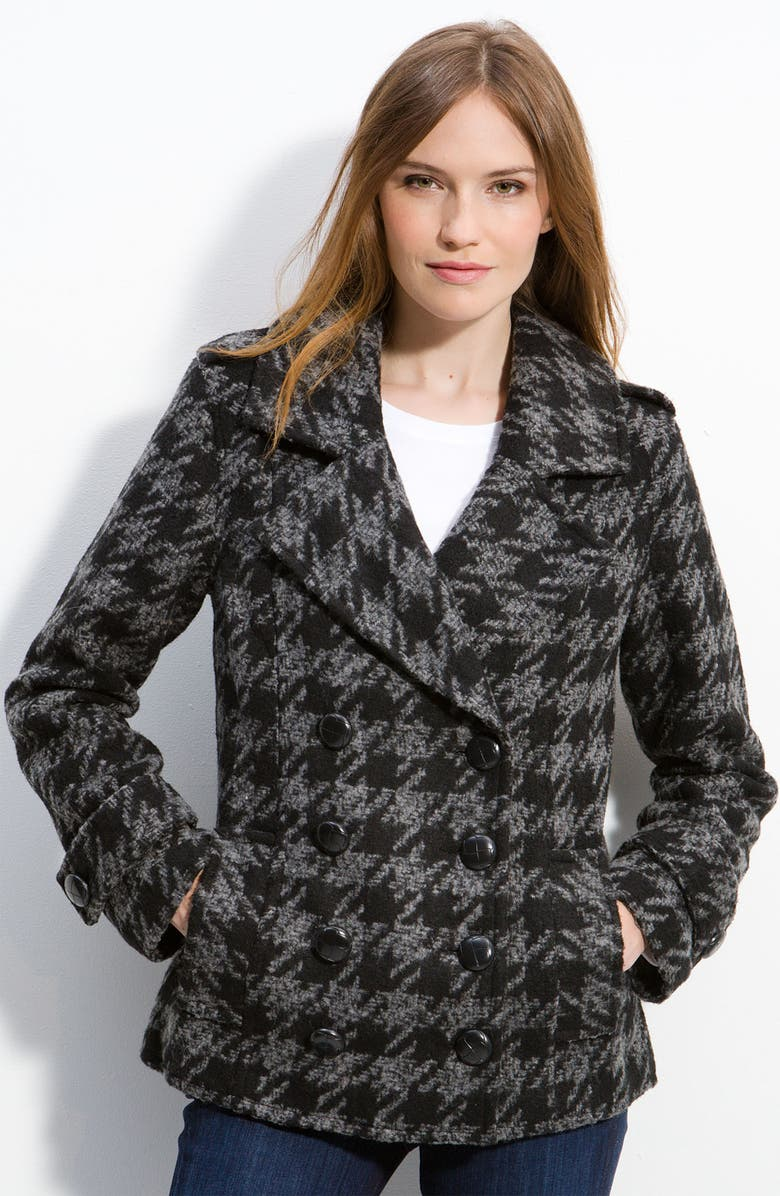 NICK & MO Double Breasted Houndstooth Peacoat, Main, color, Black