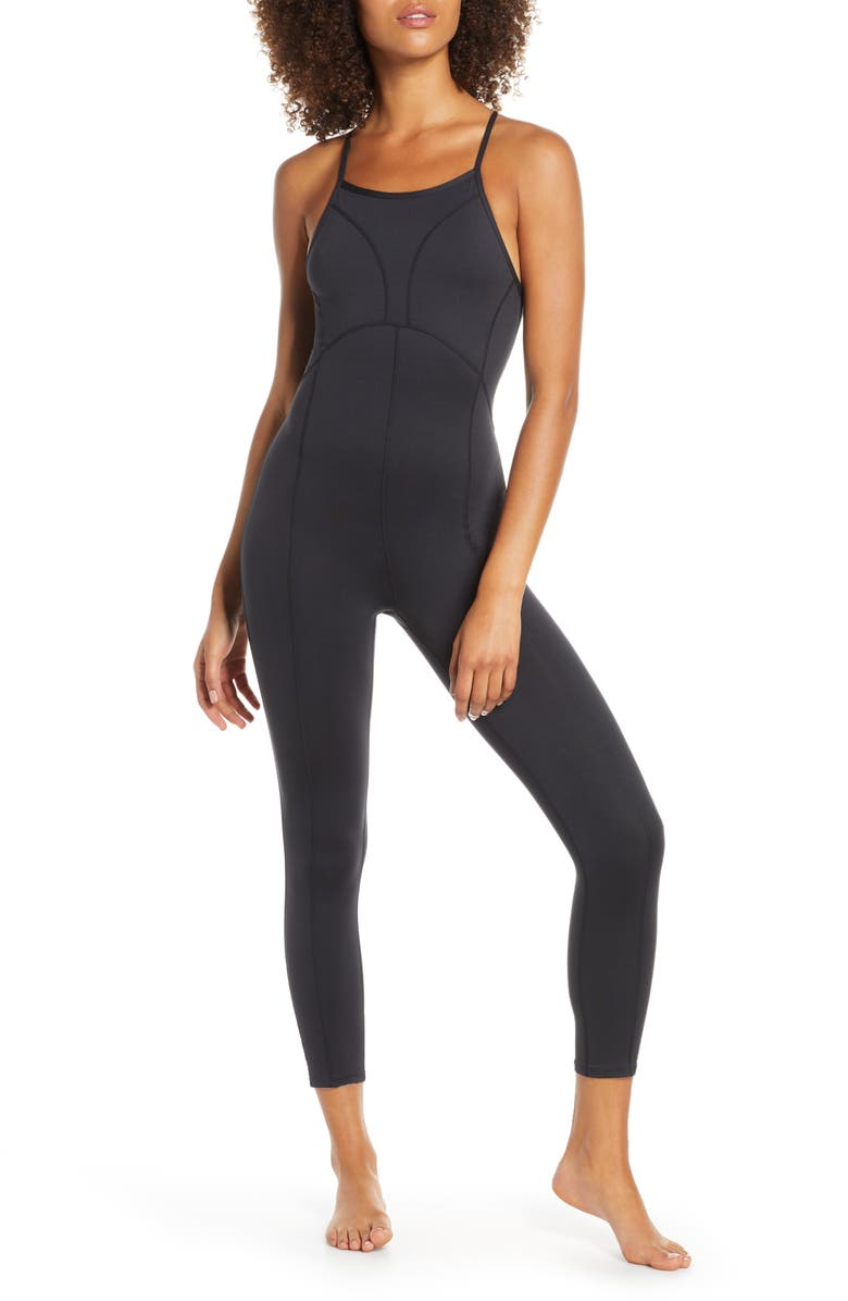 FREE PEOPLE FP MOVEMENT Side to Side Full Length Leotard, Main, color, BLACK