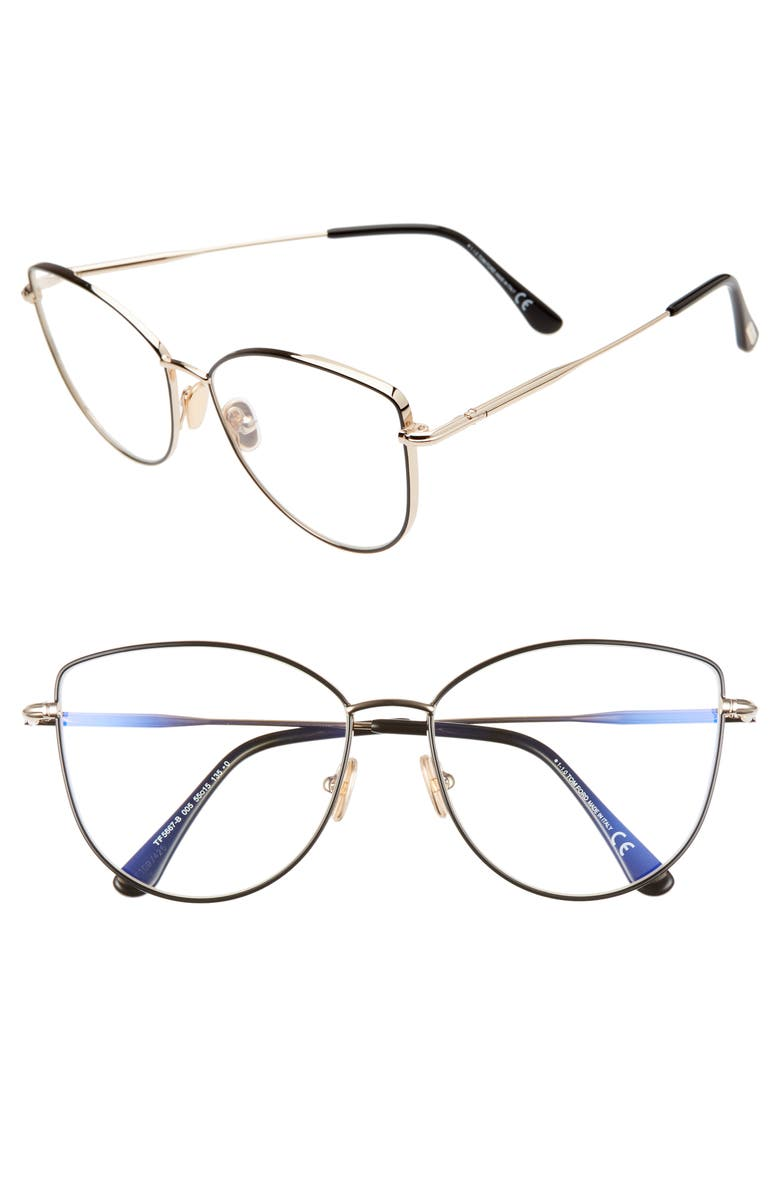TOM FORD 55mm Round Blue Light Blocking Optical Glasses, Main, color, 001