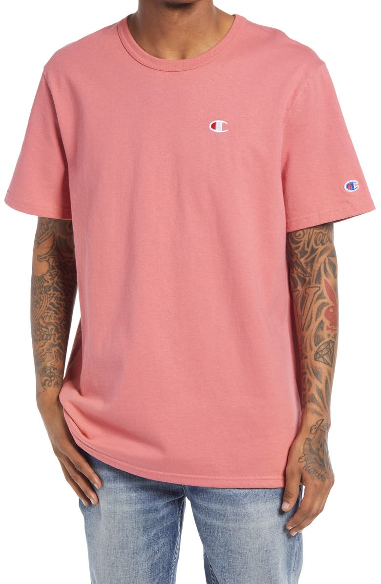 CHAMPION Heritage Logo Men's Graphic Tee, Main, color, SIESTA PINK