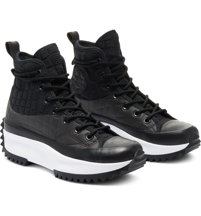 CONVERSE Chuck Taylor<sup>®</sup> All Star<sup>®</sup> Run Star Hike High Top Platform Sneaker, Main, color, BLACK/ BLACK/ WHITE