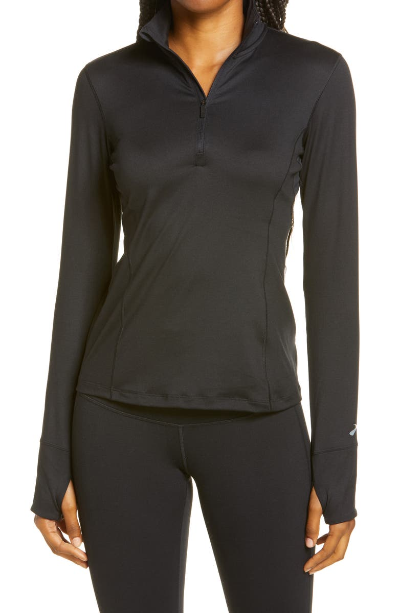 BROOKS Dash Half Zip Pullover, Main, color, BLACK