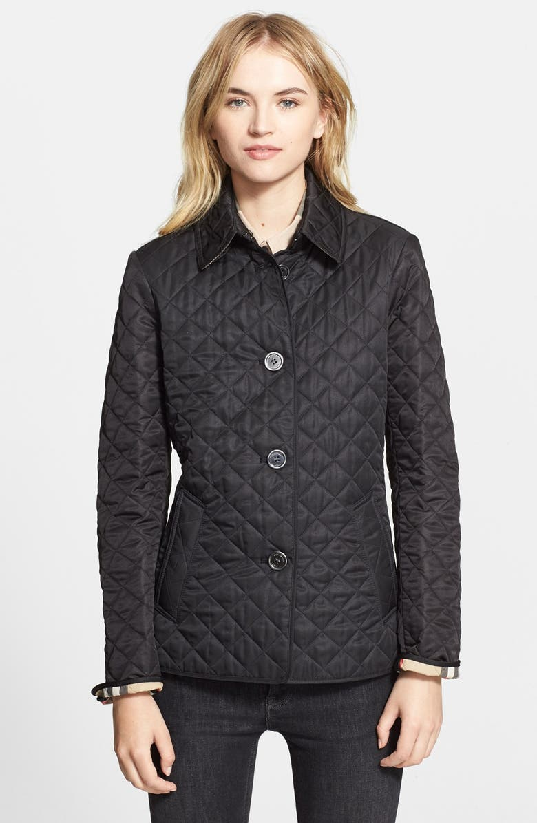 BURBERRY BRIT 'Copford' Quilted Jacket, Main, color, 001