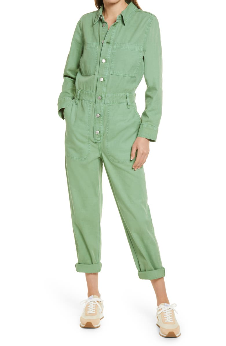 MADEWELL Women's Garment Dyed Relaxed Coverall Jumpsuit, Main, color, PALE EVERGREEN