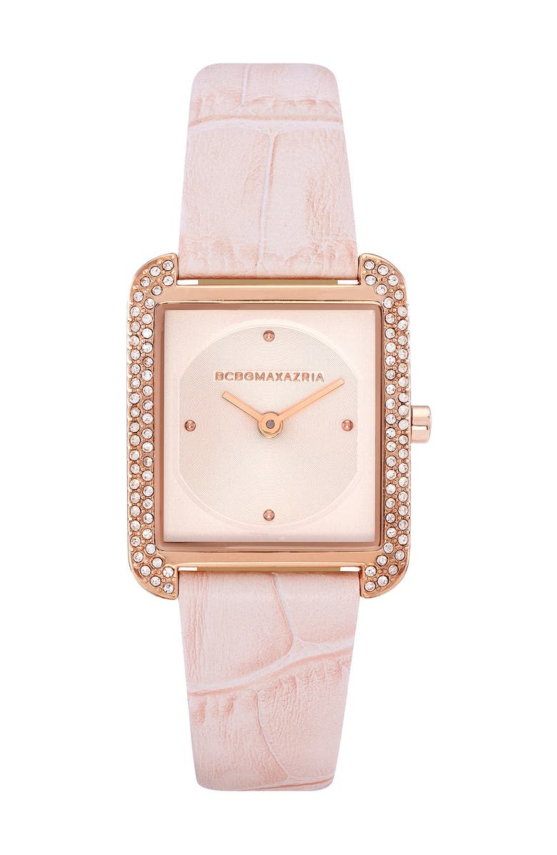 BCBGMAXAZRIA Women's Classic Japanese-Quartz Watch with Leather Strap, 25.5mm, Main, color, PINK