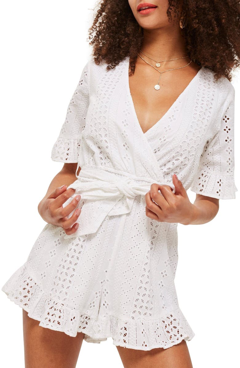 TOPSHOP Broderie Anglaise Wrap Front Romper, Main, color, White