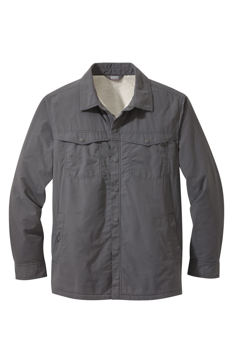 OUTDOOR RESEARCH Men's Wilson Water Resistant Shirt Jacket with Faux Fur Lining, Main, color, STORM