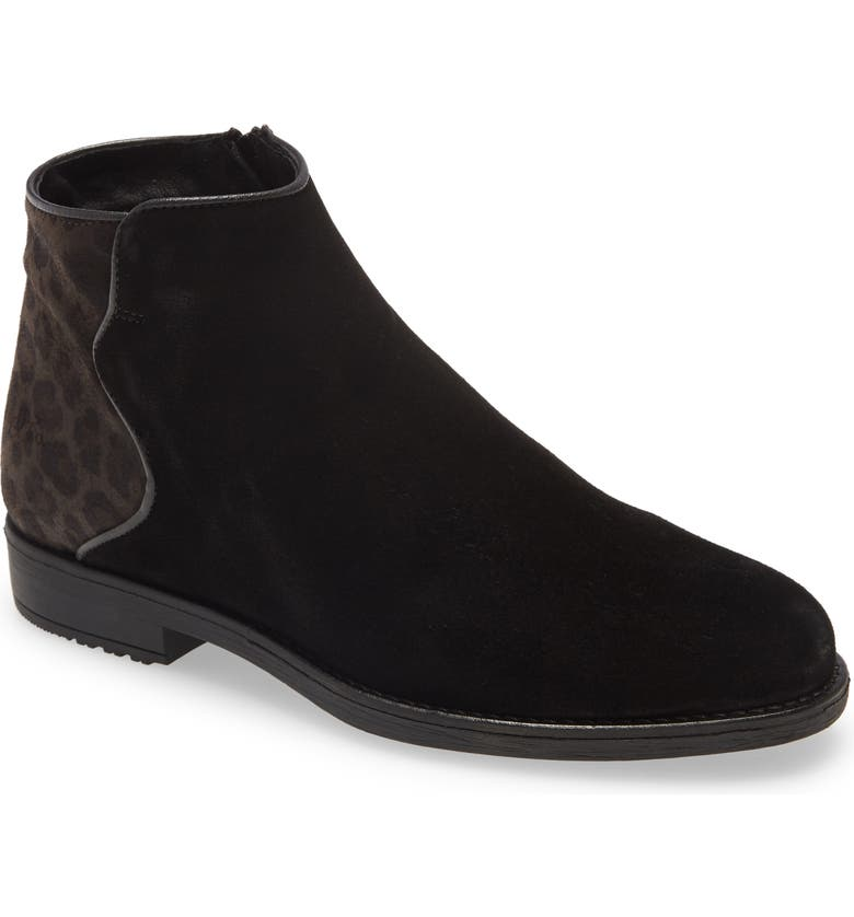 BOS. & CO. Rural Bootie, Main, color, BLACK GREY SUEDE/ LEOPARD