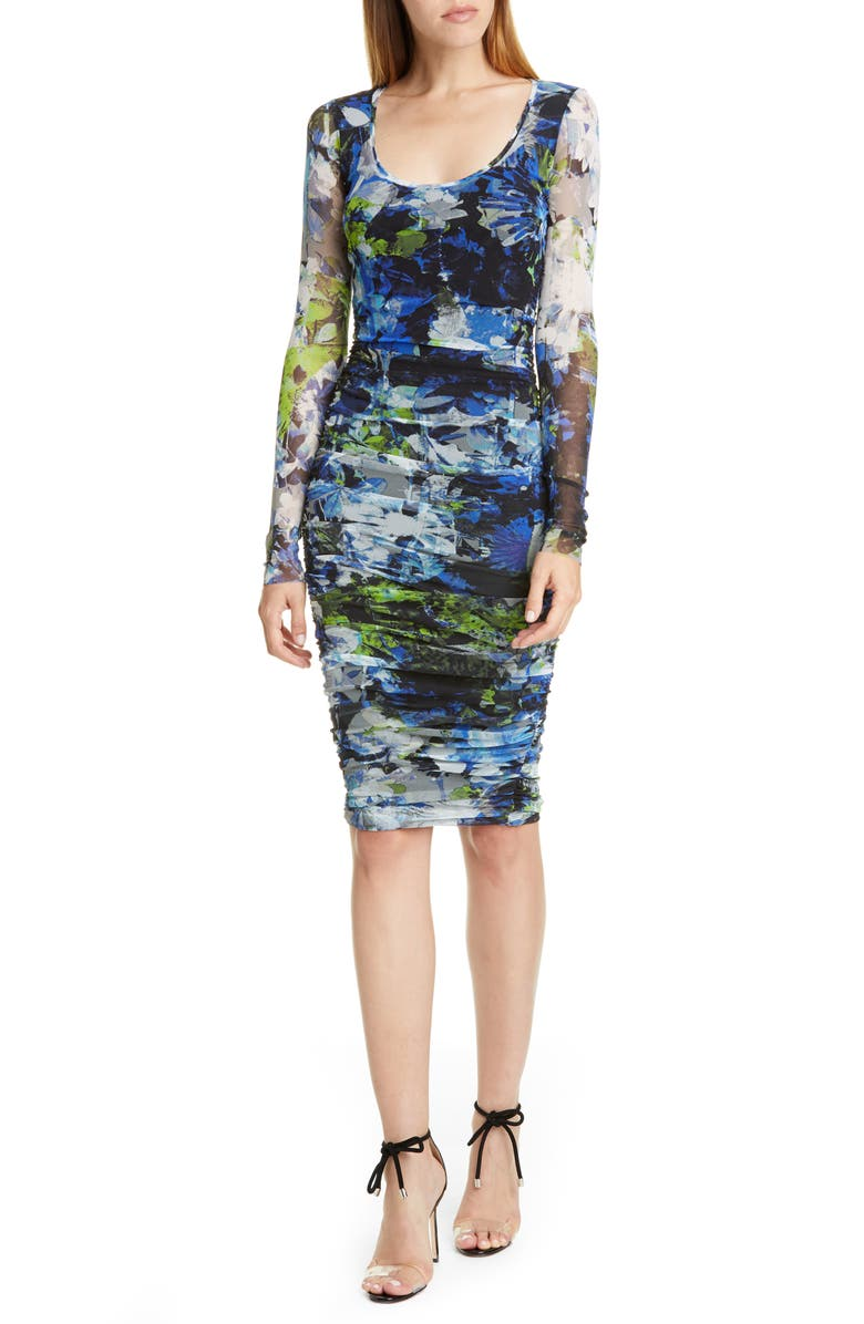 FUZZI Floral Ruched Long Sleeve Dress, Main, color, 001