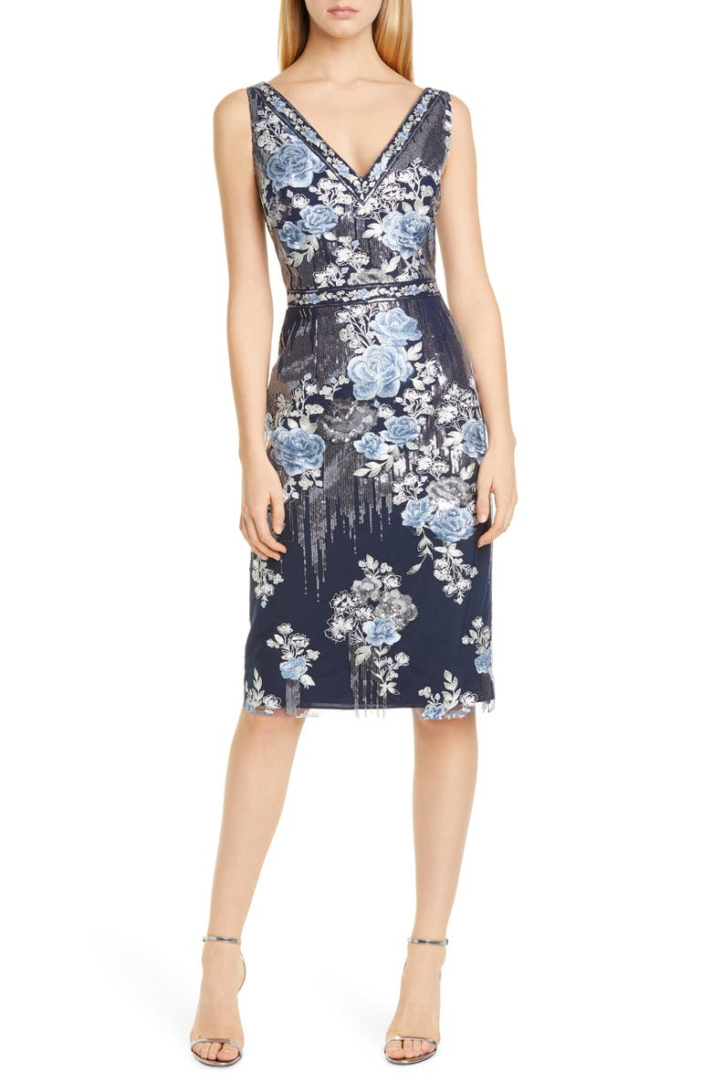 MARCHESA NOTTE Sequin Floral Embroidered Tulle Cocktail Dress, Main, color, NAVY