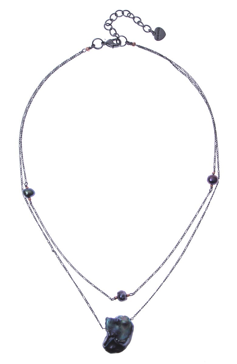 NAKAMOL CHICAGO Double Layer Cultured Freshwater Pearl Pendant Necklace, Main, color, 020