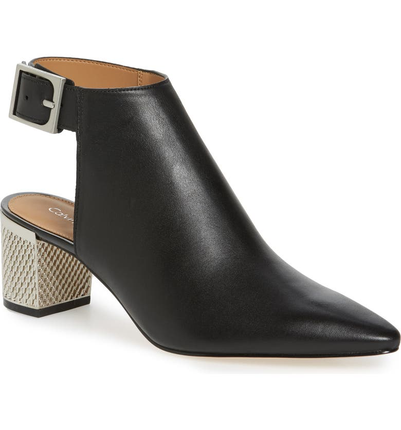 CALVIN KLEIN Pointy Toe Bootie, Main, color, BLACK LEATHER