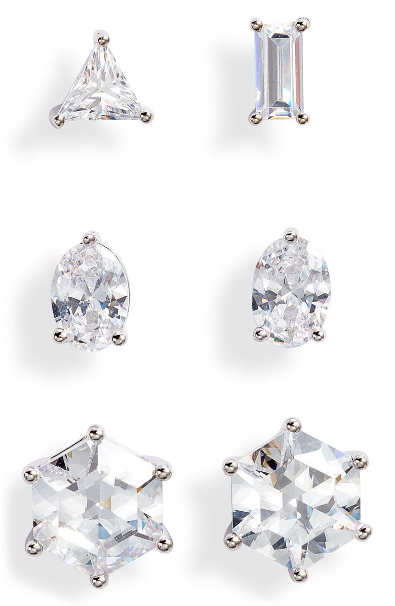NORDSTROM Mix 'n' Match Set of 3 Cubic Zirconia Studs, Main, color, CLEAR- SILVER