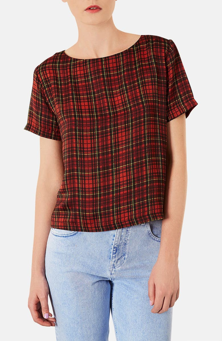TOPSHOP Tartan Plaid Tee, Main, color, 600
