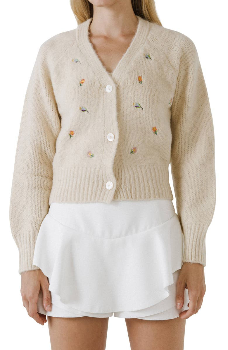 ENGLISH FACTORY Embroidered Cardigan, Main, color, BEIGE