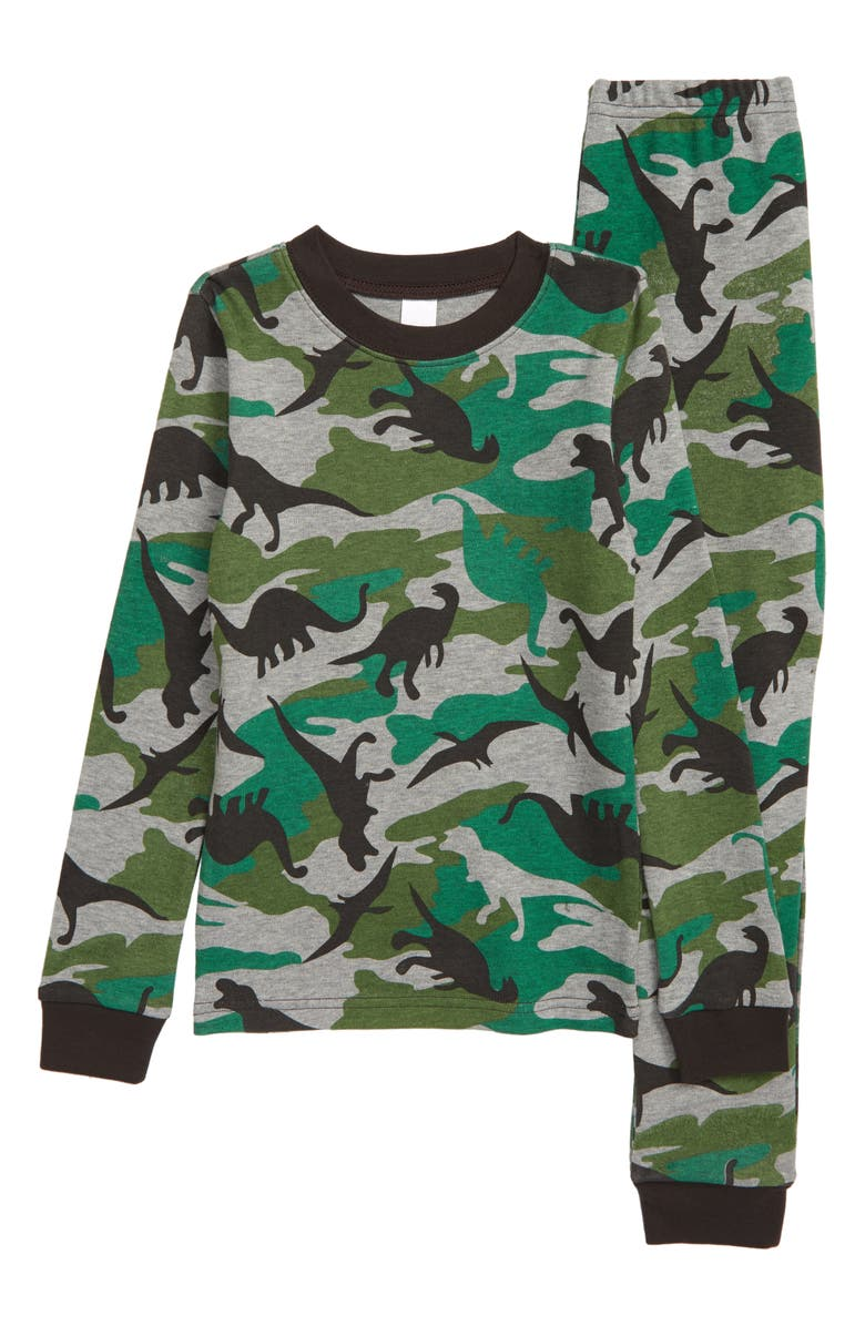 TUCKER AND TATE Tucker + Tate x Smithsonian Kids' Glow in the Dark Fitted Two-Piece Pajamas, Main, color, GREEN VINEYARD DINO CAMO