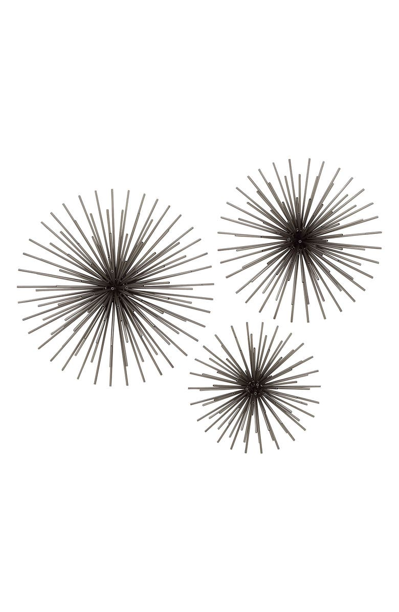 WILLOW ROW Black Contemporary Radial Wall Sculpture - Set of 3, Main, color, BLACK