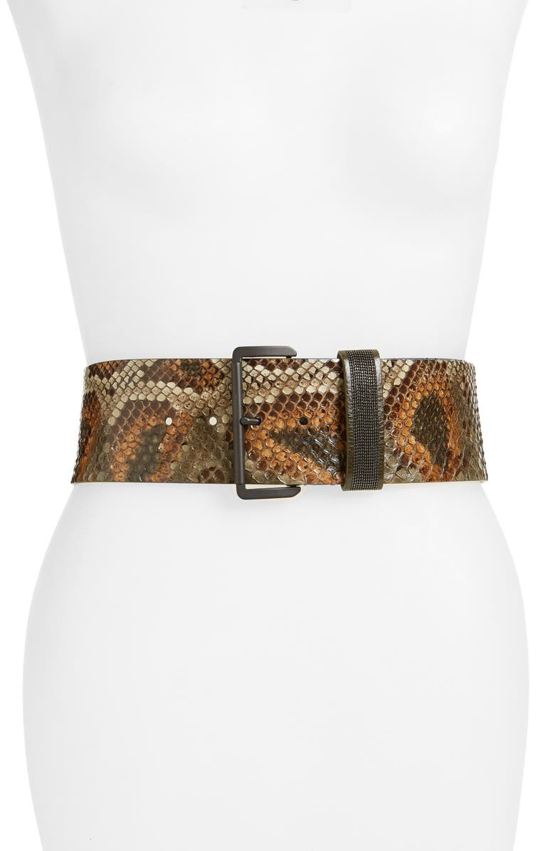 BRUNELLO CUCINELLI Genuine Python Belt, Main, color, 250
