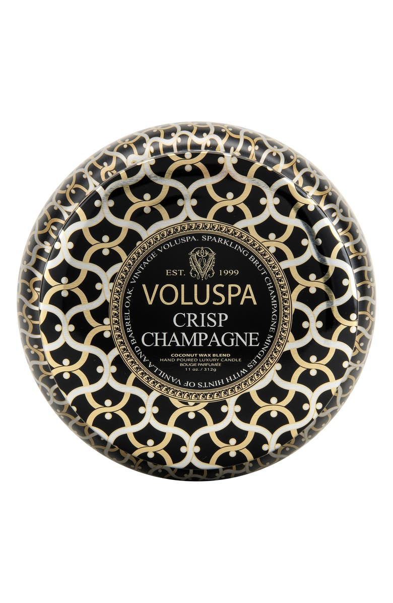 VOLUSPA Maison Noir Crisp Champagne Maison Metallo Two-Wick Candle, Main, color, 000