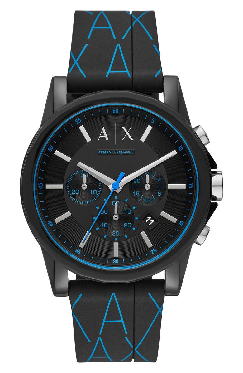 A I X ARMANI EXCHANGE Men's Outer Banks Silicone Strap Chronograph Watch, 44mm, Main, color, BLACK/ BLUE