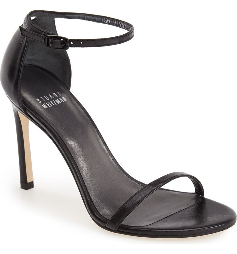 STUART WEITZMAN Nudistsong Ankle Strap Sandal, Main, color, BLACK LEATHER