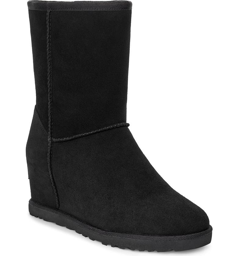 UGG<SUP>®</SUP> Classic Femme Wedge Bootie, Main, color, BLACK SUEDE