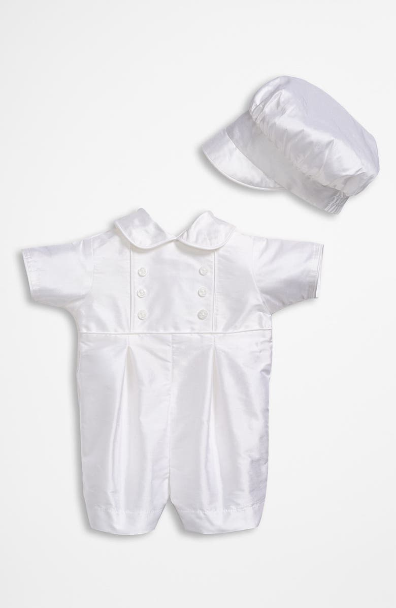 LITTLE THINGS MEAN A LOT Dupioni Romper, Main, color, WHITE