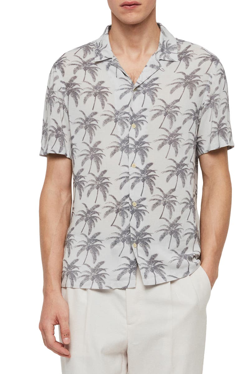 ALLSAINTS Santa Cruz Slim Fit Print Short Sleeve Button-Up Shirt, Main, color, 104