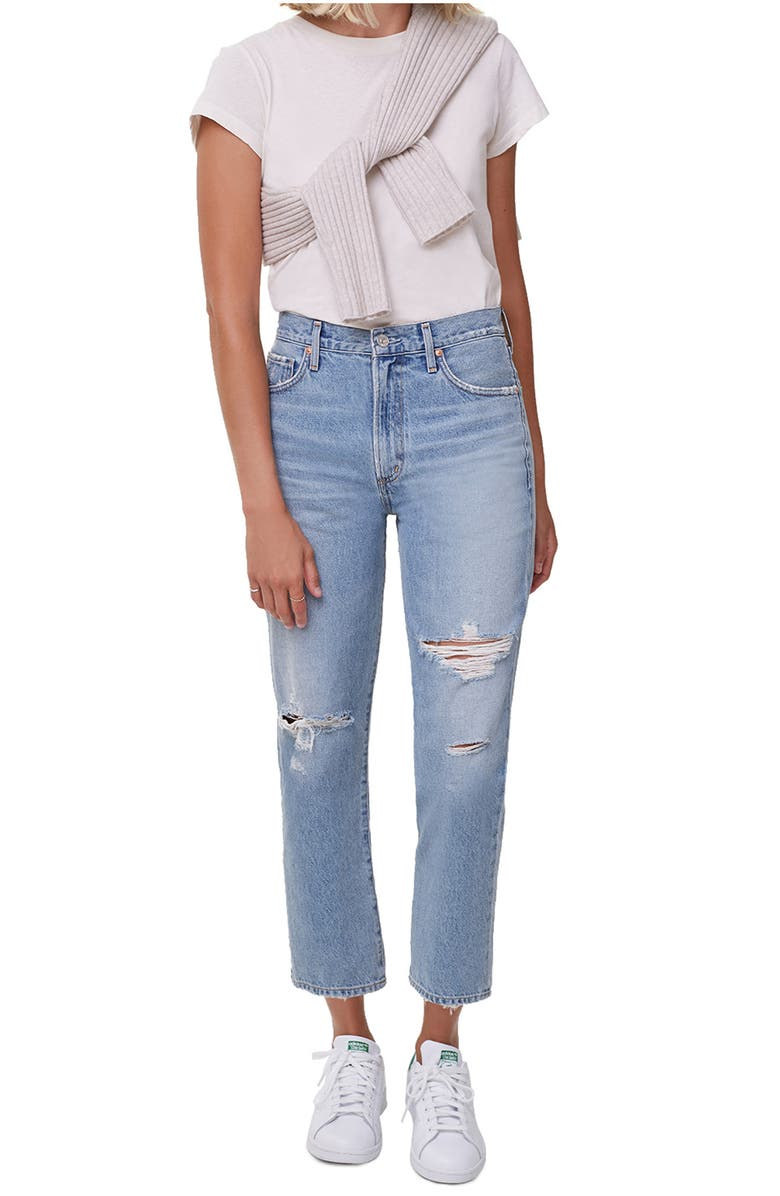 CITIZENS OF HUMANITY Marlee Nonstretch High Waist Distressed Relaxed Tapered Jeans, Main, color, MOONDUST