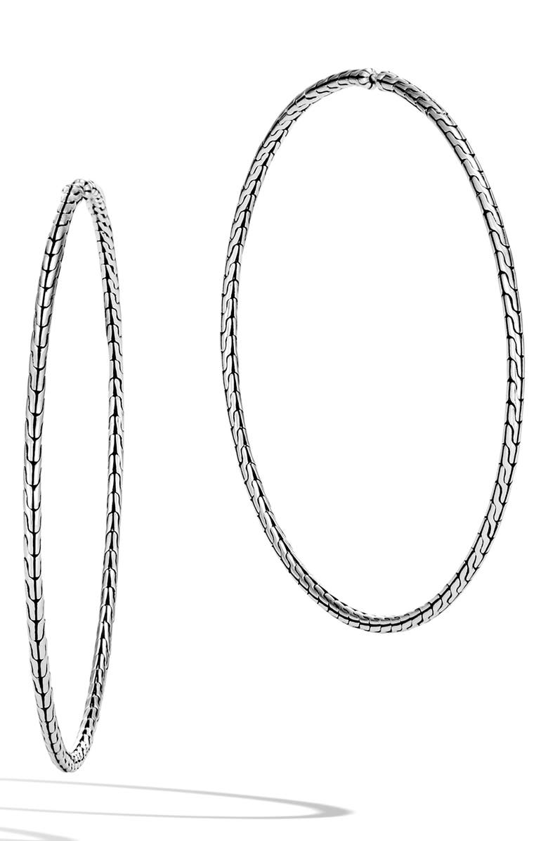 JOHN HARDY Classic Chain Extra Large Hoop Earrings, Main, color, Silver
