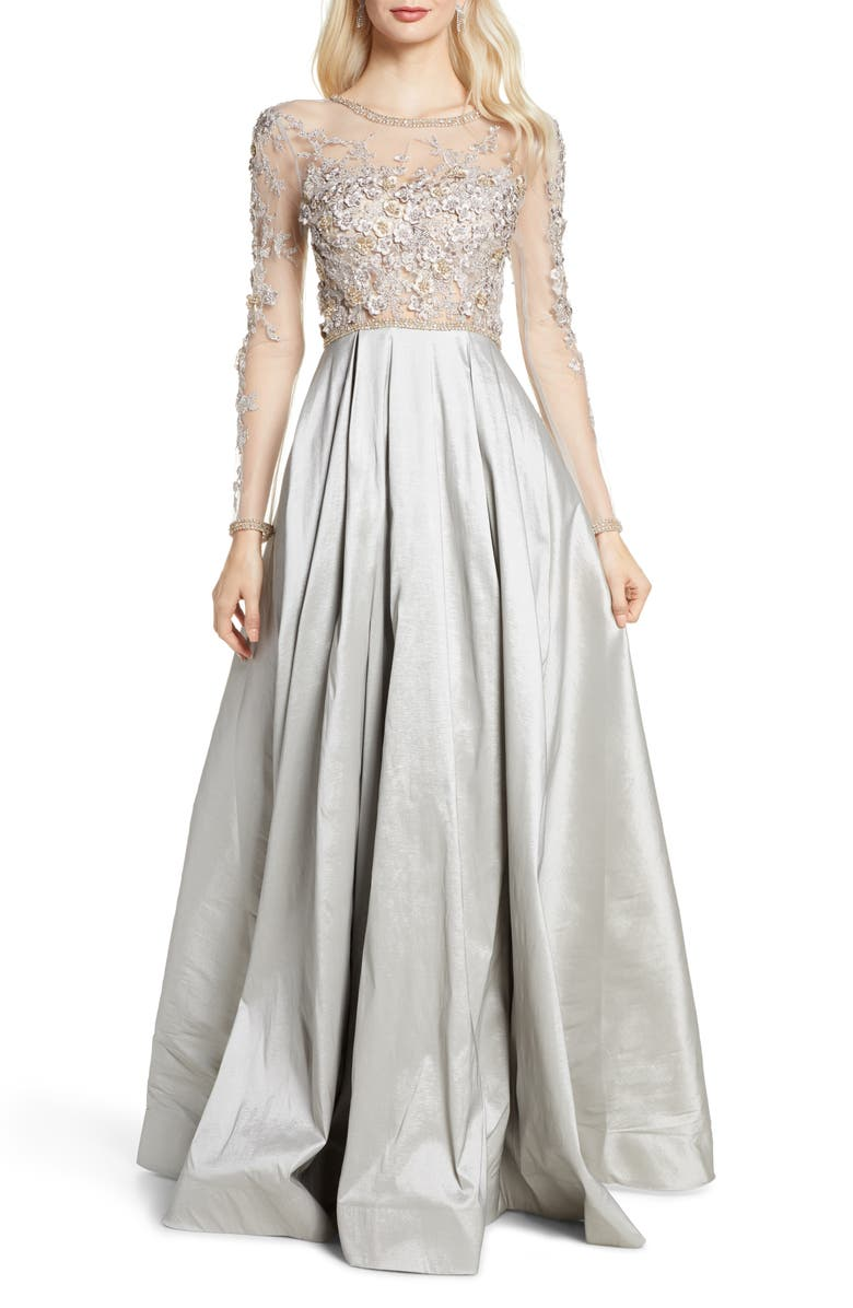 MAC DUGGAL Floral Appliqué Long Sleeve Ballgown, Main, color, DOVE GRAY