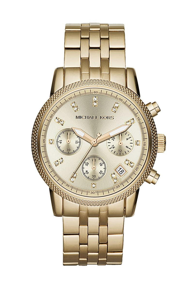 MICHAEL MICHAEL KORS Michael Kors 'Ritz' Crystal Index Bracelet Watch, Main, color, 710