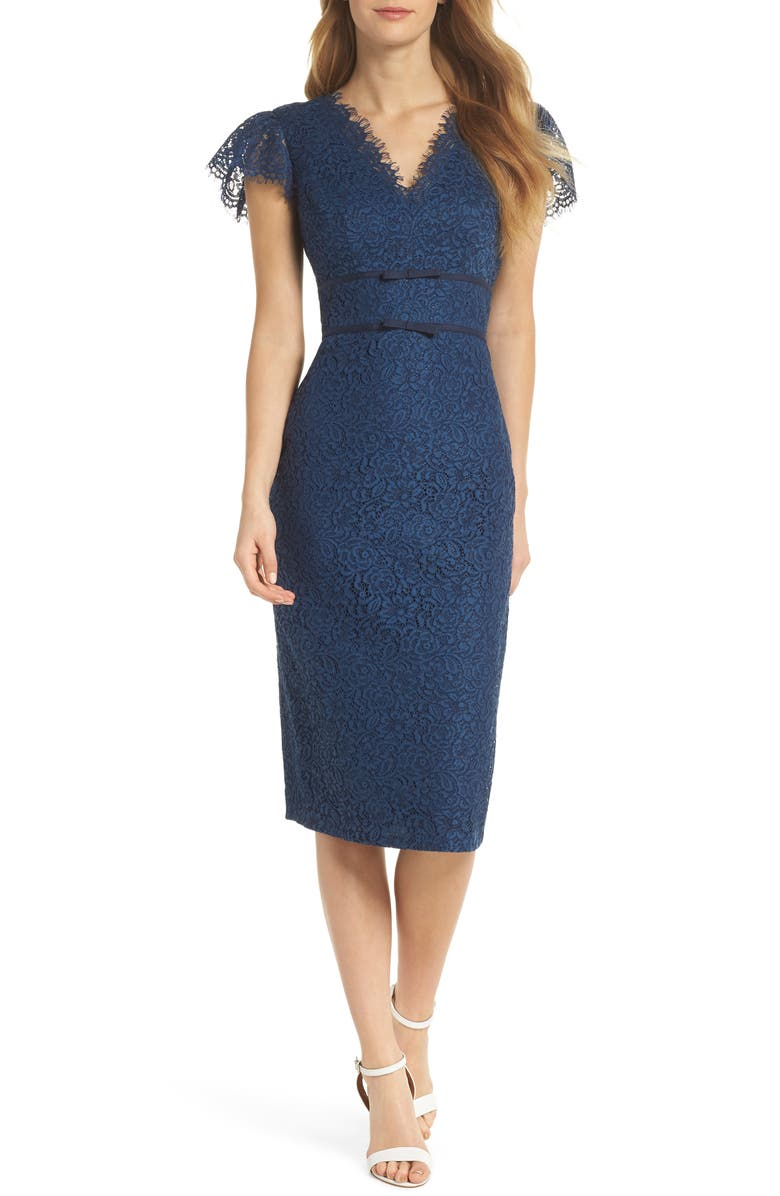 GAL MEETS GLAM COLLECTION Ginger Rosebud Lace Sheath Dress, Main, color, 462